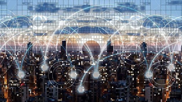 Ein Städtepanorama, über dem zahlreiche leuchtende Kreise eingezeichnet sind.