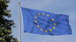Vor blauem Himmel wehen mehrere Flaggen der EU