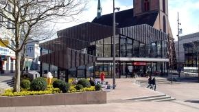 Blick über den Alten Markt in Kiel, Pavillonbauten