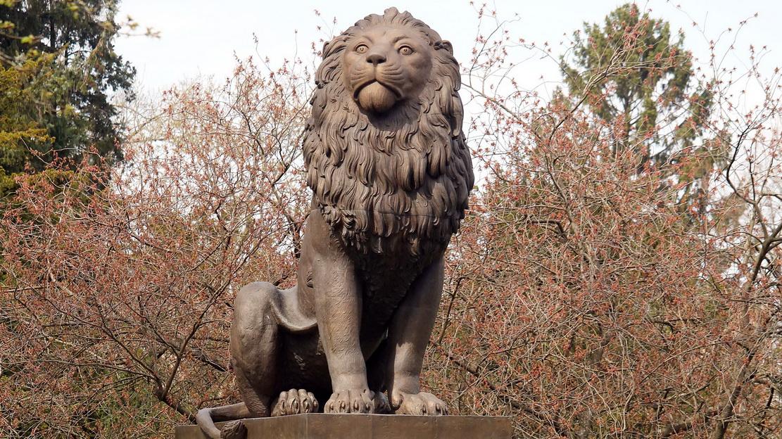 Idstedt-Löwendenkmal auf dem Alten Friedhof in Flensburg, Blick auf den bronzenen Löwen
