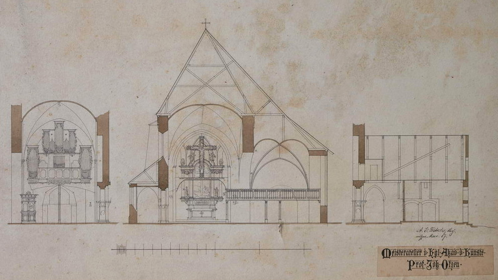 Farbiger Plan (Querschnitte) von Johannes Otzen der Nikolaikirche in Mölln
