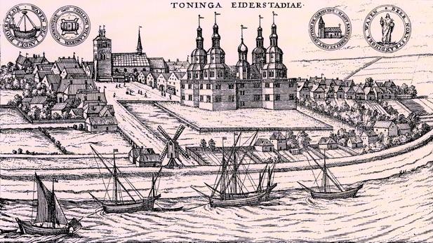 Ansicht der Stadt Tönning, vor 1598. Kupferstich mit Blick auf die Stadt und das Schloss, im Vordergrund der Hafen