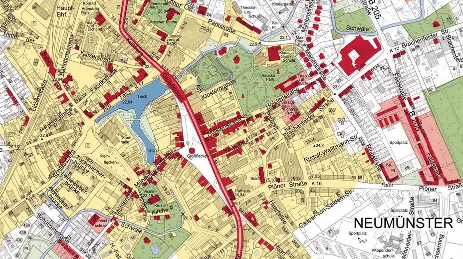 Plan der Innenstadt aus der Topografie Neumünster