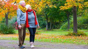 Ein älteres Paar machte Arm in Arm einen Spaziergang im herbstlichen Park.